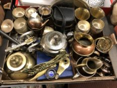 CARTON CONTAINING METALWARES INCLUDING COPPER JUGS, PLATED TANKARDS,