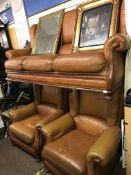 BROWN LEATHER SHOW FRAME THREE PIECE SUITE