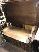 REPRODUCTION OAK LINEN FOLD BOX SEAT MONKS BENCH HEIGHT UNOPENED 74CM X HEIGHT OPENED 120CM X 89CM