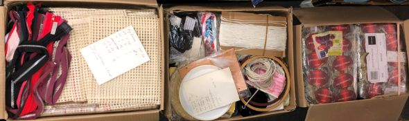 THREE BOXES OF VARIOUS HABERDASHERY - RUG CANVASES, ZIPS,