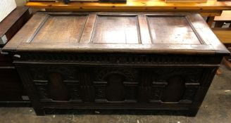 17TH CENTURY OAK THREE PANEL COFFER WITH CARVED LUNETTE AND ARCADED FRONT