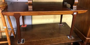 1960S TEAK COFFEE TABLE WITH PULL OUT SLIDES 46CM H X 106CM W X 48CM D
