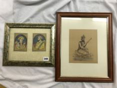 MUGHAL PAINTING OF A PRINCE AND PRINCESS 8CM X 10CM AND A KNEELING MUSICIAN PLAYING AN ESRAJ 16CM X