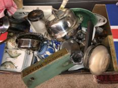 BOX CONTAINING EPNS MUFFINIER, WATER JUG,