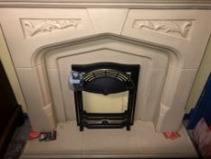 RECONSTITUTED STONE NORMAN STYLE FIRE PLACE WITH BACK PANEL AND HEARTH WIDTH 137 X HEIGHT 115CM