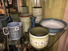 SELECTION OF DENBY AND OTHER STUDIO POTTERY AND HORNSEA TAPESTRY JUG