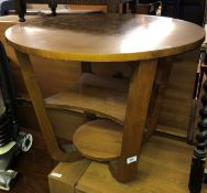 1930S WALNUT OCCASIONAL TABLE WITH UNDER TIERS 51CM H X 61CM DIAMETER