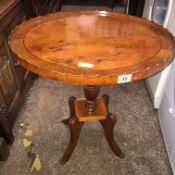 YEW WOOD OVAL CROSS BANDED PEDESTAL OCCASIONAL TABLE