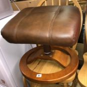 BROWN LEATHER STRESSLESS STYLE STOOL