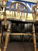 PAIR OF BEECH AND ELM HOOPED WHEEL BACK KITCHEN CHAIRS