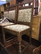 OLD CHARM OAK GATELEG TABLE AND FOUR TAPESTRY UPHOLSTERED DINING CHAIRS