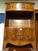REPRODUCTION YEW BOW FRONTED CUPBOARD FITTED WITH DRAWERS AND A SLIDE (W50CM X H76CM X D27CM)