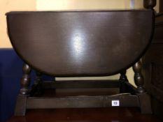 SMALL DARK OAK DROP FLAP TABLE 42CM H X 60CM W X 28CM (UNOPENED) / 80CM (OPENED) D