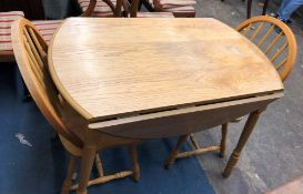 LIGHT WOOD DROP FLAP TABLE AND FOUR HOOP BACK KITCHEN CHAIRS 61CM X 105CM (UNOPENED)/ 105CM