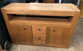 CONTEMPORARY STAINED PINE LOUNGE FURNITURE SET- COMPRISING SIDEBOARD, LOW COFFEE TABLE,