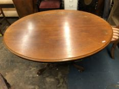 VICTORIAN MAHOGANY OVAL TILT TOP BREAKFAST TABLE ON CARVED QUADRIPARTITE BASE