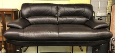 CONTEMPORARY BROWN LEATHER CHROME FOOTED SOFA