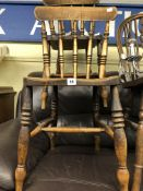 PAIR OF LATE 19TH CENTURY BEECH AND ELM SPINDLE BACK KITCHEN CHAIRS