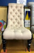 VICTORIAN EBONISED UPHOLSTERED BUTTON BACKED NURSING CHAIR