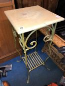 SQUARE TOPPED VERDE GRIS WROUGHT IRON JARDINIERE STAND