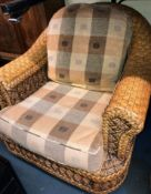 PAIR OF RATTAN CONSERVATORY ARMCHAIRS WITH MATCHING TABLE