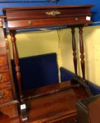 MARQUETRY INLAID TABLE WITH LIFT UP TOP AND SHALLOW DRAWER
