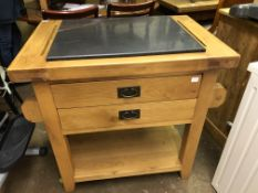 BESPOKE OAK TYPE FREE STANDING MARBLE TOP CHOPPING BLOCK ISLAND WITH DRAWERS W90CM D62CM H87CM