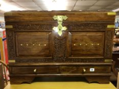 ROSE WOOD CARVED AND BRASS INLAID DOME TOP TRUNK WITH SIDE CARRYING HANDLES W76CM D42CM H57CM