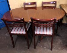 REPRODUCTION REGENCY STYLE TWIN PEDESTAL EXTENDING DINING TABLE (95CM X 153CM APPROX) AND FOUR BAR
