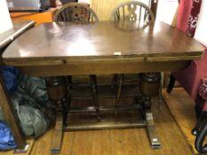 OAK DRAWERLEAF DINING TABLE 117CM W X 78CM H X 76CM D APPROX