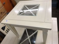 CREAM PAINTED AND SQUARE SECTION LAMP TABLE