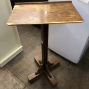 MID 20TH CENTURY CROSS BASED ADJUSTABLE READING STAND 100CM H