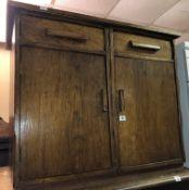 OAK TWO DOOR CUPBOARD 90CM W X 75CM H X 55CM D APPROX