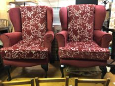PAIR OF RED WING BACK DRALON ARMCHAIRS ON CABRIOLE LEGS