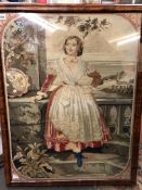 NEEDLEWORK EMBROIDERY OF A FEMALE FIGURE WITH ACANTHUS BORDER IN WALNUT FRAME A/F 65CM X 86CM