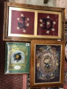 19TH CENTURY NEEDLEWORK FLORAL EMBROIDERED PANEL IN MAPLE FRAME,