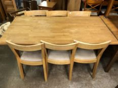 OAK DINING TABLE AND SIX CHAIRS 160CM W X 75CM H X 80CM D APPROX