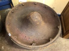 TWO CAST IRON SOMBRERO STYLE PIG FEEDING TROUGHS