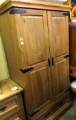 COLONIAL PINE DOUBLE PANEL DOOR WARDROBE 88CM W X 61CM D X 186CM H