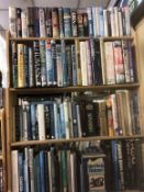 FOUR SHELVES OF MISCELLANEOUS, MAINLY HARDBACK BOOKS ON HISTORY, CINEMATIC, HORROR STORIES,