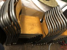 QUANTITY OF 1950S TUBULAR METAL AND PLYWOOD STACKING CHAIRS