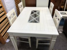 CREAM PAINTED OBLONG DINING TABLE WITH FOUR CHAIRS 150CM W X 92CM D X 74CM H