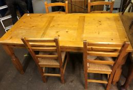 PINE OBLONG DINING TABLE WITH FOUR SEAGRASS STRUNG LADDERBACK CHAIRS 160CM W X 76CM H X 80CM D
