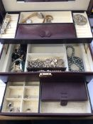 BOX OF COSTUME JEWELLERY INCLUDING AVIA AND ROTARY LADIES WRISTWATCHES,