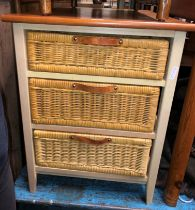 PAIR OF CONTEMPORARY RATTAN THREE DRAWER CHESTS