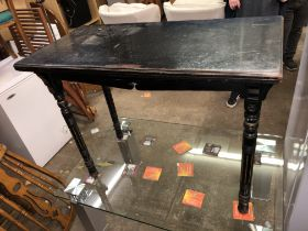 AESTHETIC MOVEMENT EBONISED AND GILDED FOLDOVER TOP CARD TABLE (DIMENSIONS-W.99CM,H.76CM,D.