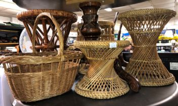 FOUR WICKER WORK STOOLS AND A BASKET