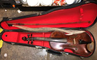 CASED VIOLIN AND BOW
