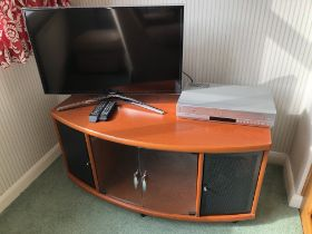 BOW FRONTED MEDIA STAND AND A SAMSUNG TV