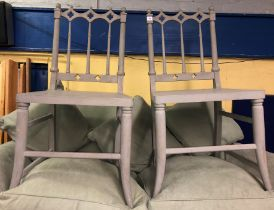 GREY PAINTED SPINDLE BACK DINING CHAIRS